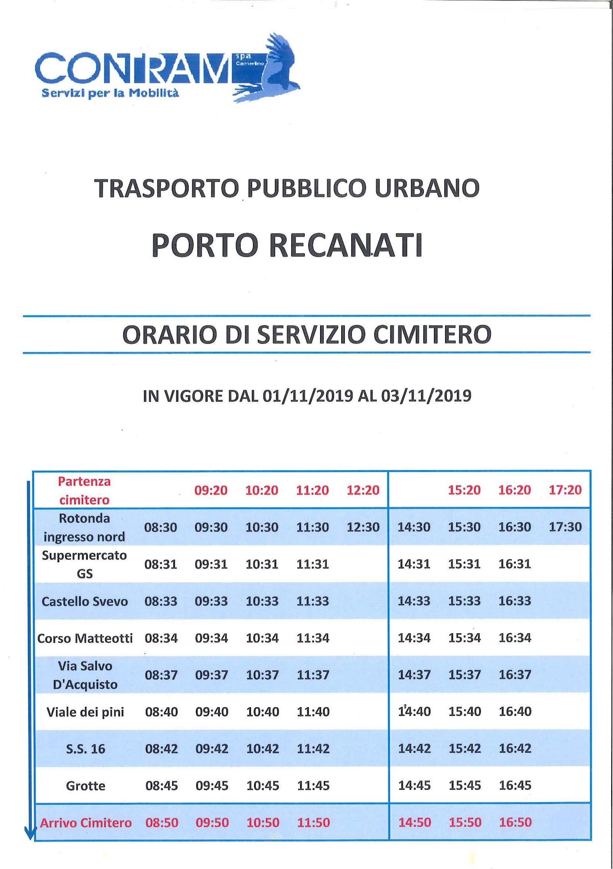 orario trasporto 12 e 3 Novembre 2019